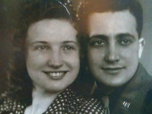 Marie and Al Catania, best friends forever, taken in her home town, Herve, Belgium, in 1945.
