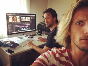 "Rory McKellar and Justin Thomson hard at work on the new music video, ""Little Babylon"" for singer Polina."