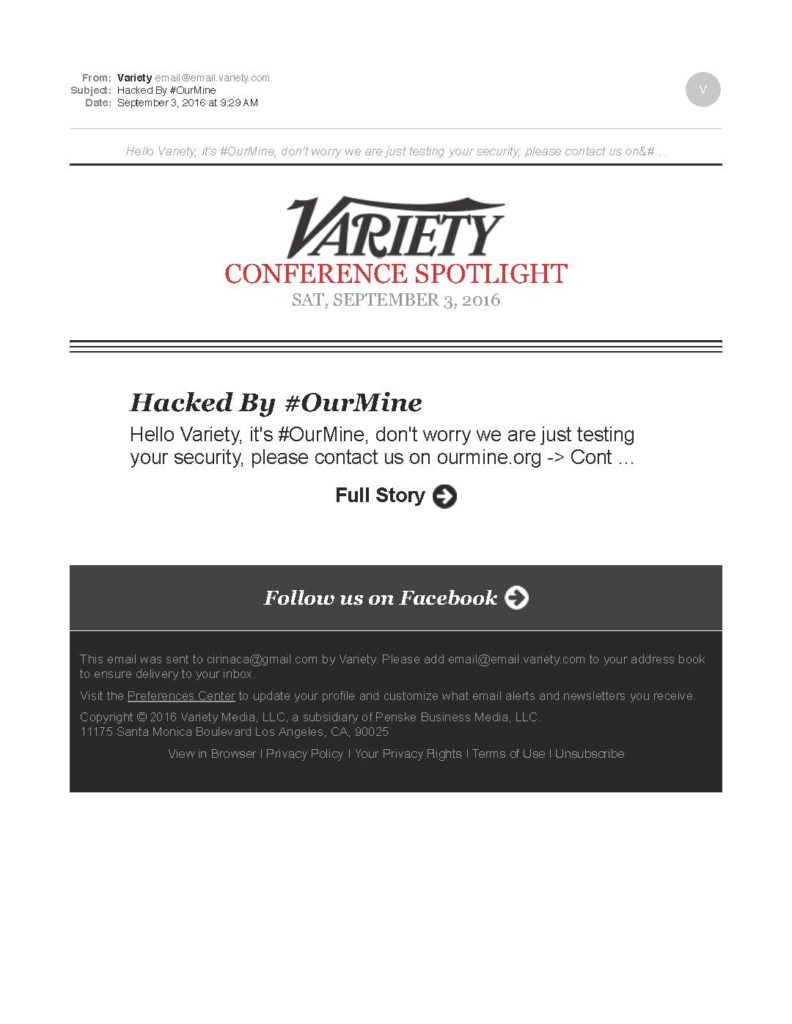 USTimes_Variety_3rd email redacted_Hacked By OurMine