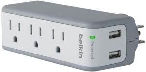 Belkin 3-Outlet SurgePlus Mini Travel Swivel Charger with Dual USB Ports